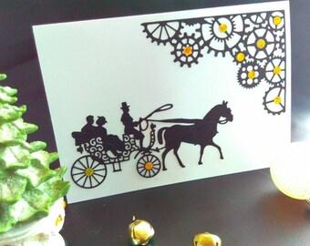 Quirky Handmade card, blank card, steampunk card, steampunk Christmas card, paper cut card, horse card, steampunk Christmas, steampunk