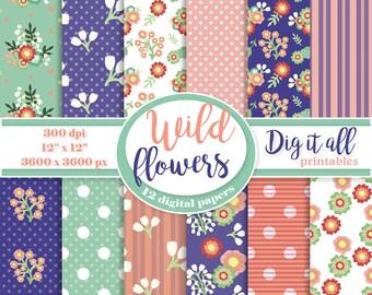 Floral digital paper Spring flower digital paper pack Vintage scrapbook paper Mothers day digital paper retro Summer instant download paper