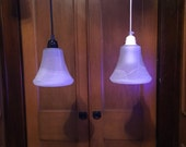 Set of 3 Custom Made Pendant Lights, White Swirl Glass Shade