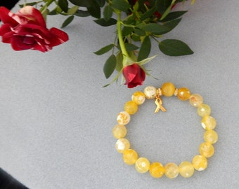 Bright Yellow and White Faceted Jasper and Golden Agate Childhood Cancer Awareness Bracelet