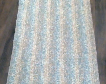 Hand Crocheted Carpet in Blue/Green/Cream