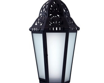 18in. Large Metal European-style Hanging Candle Lantern with Frosted Glass Panels