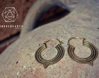 Gypsy Hoop Earrings, Sacred Geometry, Brass Jewelry, Tribal Earrings, Indian Jewelry, Ethnic Jewelry, Bohemian Jewelry, Yoga Jewelry