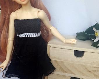 BJD MSD, Minifee or Unoa simple black dress with belt, 1/4 slim