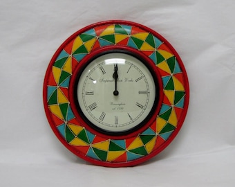 Wall clock hand painted,embossed,Indian arts and crafts,colorful,wooden,quartz movement,Indian art,Indian handicraft,India colorful clock,