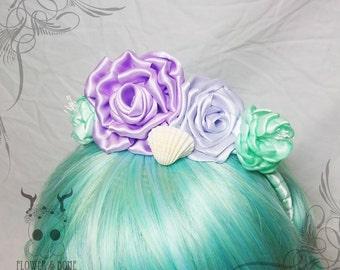 NOW ON SALE! | Mermaid Band || Pastel & Shell Flower Crown Headdress || Fairy Kei Pastel Goth Lolita Harajuku Roses