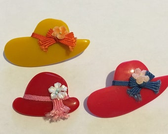 Hat Brooch Collection - Red Hat - Unique Accessories - Vintage Brooch