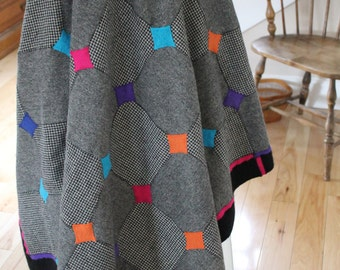 """Wool Felt Throw 54"""" X 54"""" Black/White with Bright Accent Colors"""