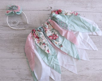 Pink Green Floral Fairy Skirt Flower Crown Gypsy Skirt Faerie Skirt Girls Birthday Outfit Shabby Chic Outfit