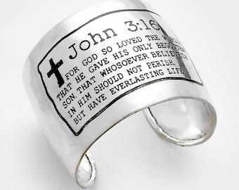 """John 3:16"""" Cross Cuff Bracelet"""