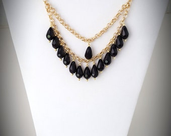 Black Teardrop Necklace, Statement necklace, Gift or her