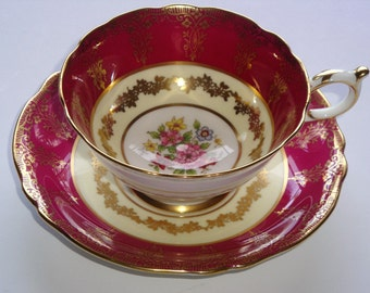 DW Paragon Maroon Gold Filigree Floral Spray Cream Cup and Saucer