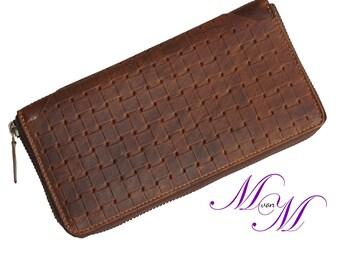 Ladies long Exchange / wallet MONTBRETIA Brown cowhide leather made - MANDY von MALTZAHN