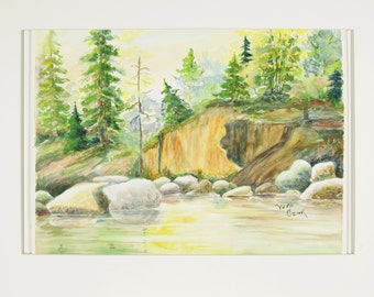 ORIGINAL painting, watercolor, nature, woods, pines, lake, rocks, sunlight, gift art, 18x24/mounted 22x28