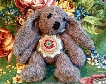 Rupert rabbit, hand knitted angora silk