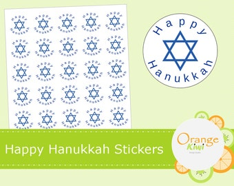 Happy Hanukkah Stickers - Star of David - Hanukkah - Jewish - Religion - Holiday Stickers