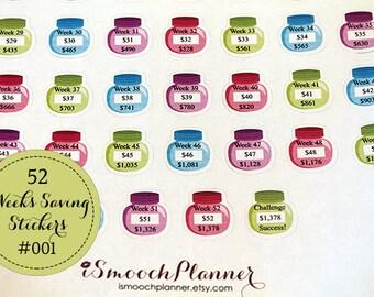 52 Weeks Saving Planner Stickers | Erin Condren Planner | Happy Planner | Plum Paper | #001
