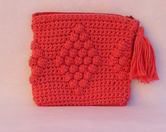 crochet bag pink, handbag crochet, crochet bag, clutch, purse