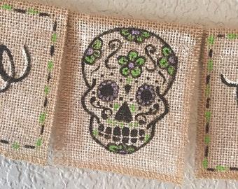 Dia De Los Muertos Banner   Day of the Dead Banner   Halloween Banner   Day of the Dead Skull   Skull Banner   Dia de los Muertos Skull