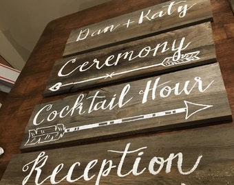 Set of 4 wedding signs (stakes included)