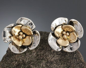 Sterling Silver and Gold Double Dogwood Earrings - Dogwood Flower- Gold Studs - Gold Earrings - Gold Flowers - Flower Studs - Sherry Tinsman