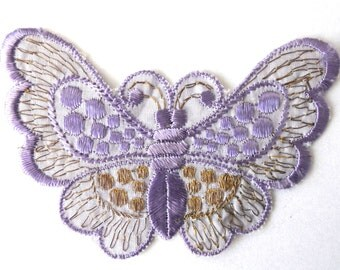 Applique,purple butterfly 1930s vintage embroidered applique. Vintage patch, sewing supply. #643GB7K2