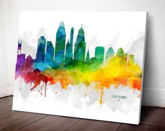 Cincinnati Skyline Canvas, Cincinnati Print, Cincinnati Decor, Cincinnati Gift, Cincinnati Cityscape, MMR-USOHCI05C
