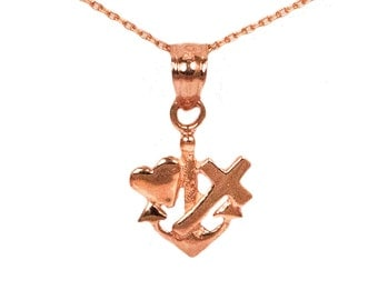 14k Rose Gold Faith Hope Love Necklace