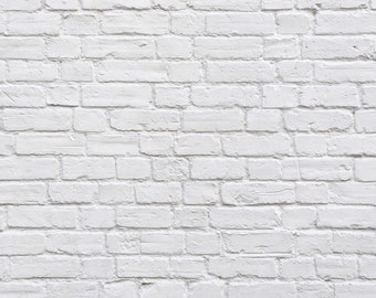 5x5 Antique White Painted Bricks Printed Backdrop - Polypro or Vinyl for Newborn, Baby, Infant, Toddler, or Child Photography