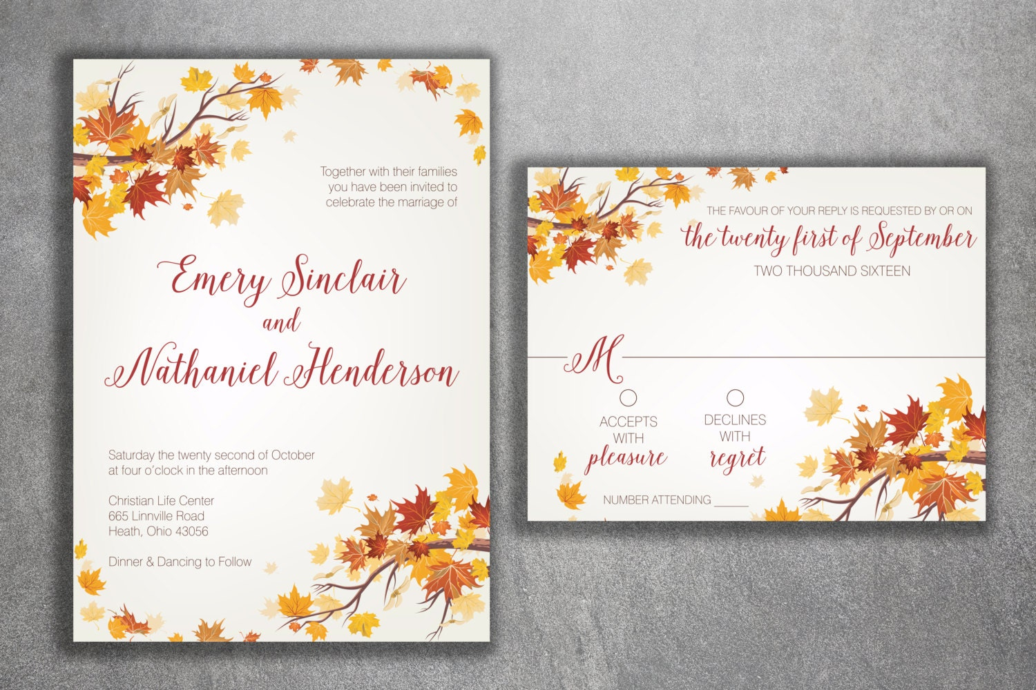 Printable Wedding Invitation Sets: Autumn Wedding Invitation Set Fall Wedding Invitation