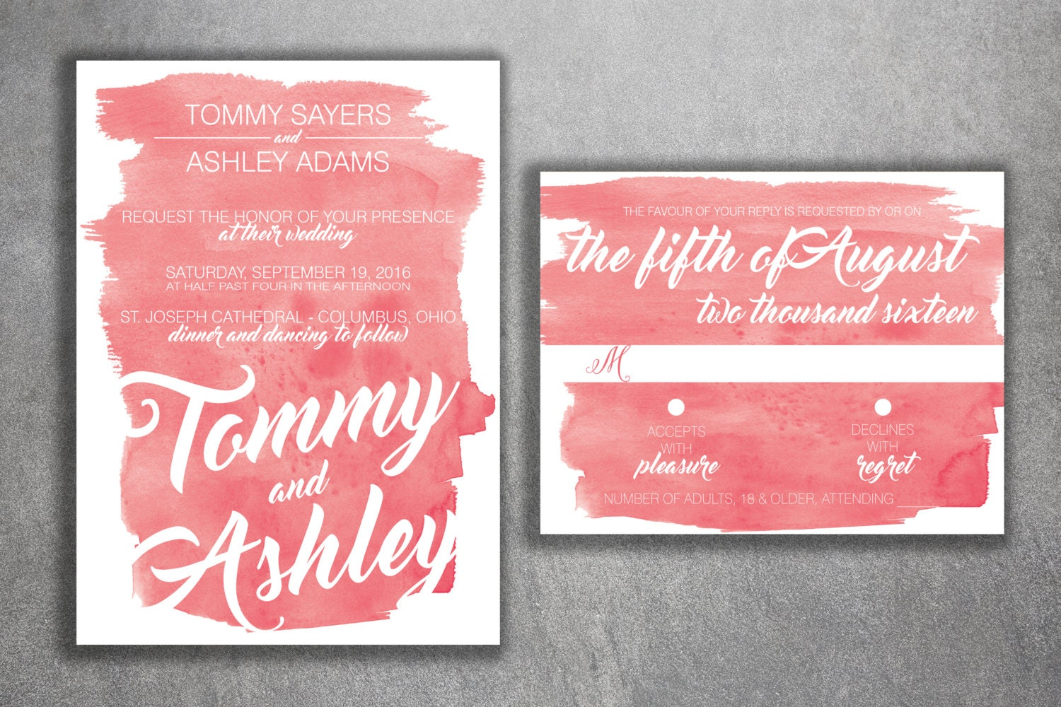 Cheap Customized Wedding Invitations: Coral Watercolor Wedding Invitations Set Printed Cheap