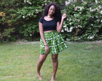 African  print mini skirt.