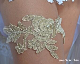 Gold Wedding Garter, Lace  Bridal Garter, Wedding Garter Set, Pearl Garter, Wedding Clothing, Gold Lace Garter, Rustic Garter,Elegant Garter