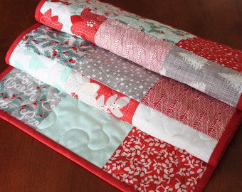 Quilted Christmas Table Runner, Winterberry, Aqua Christmas Table Runner, Poinsettia Table Runner, Handmade Table Runner, Table Topper, Moda