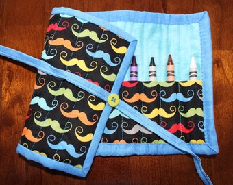 Mustache Crayon Holder, Blue Crayon Roll Up, Handmade Crayon Tote, Geekly Chic, Modern, Quilted Crayon Roll Up, Mustaches, Boy, Blue, Green