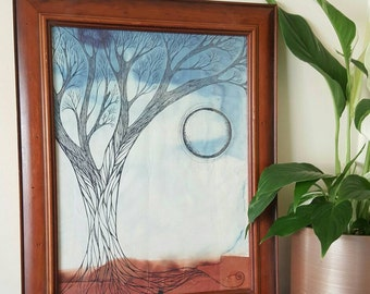 Tree Ink Drawing | Ink & Watercolor | Framed Painting