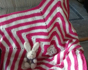 Pink and White Star Afghan