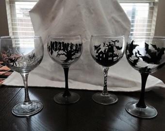 Halloween hand painted wine glasses