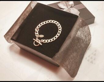 11_Gold Chain v1. ( Gold matte chain, Simple, Trendy, Jewelry, Bracelet for Men/Women)