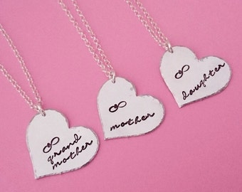 grandmother mother daughter necklace, mother daughter necklace, mother daughter, mother daughter set, mom daughter jewelry, necklace set