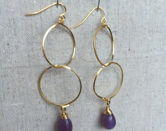 Double Hoop Earrings - Gold Hoop Earrings - Purple Earrings