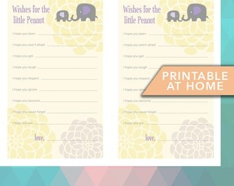 Elephant Printable baby Shower Wishes