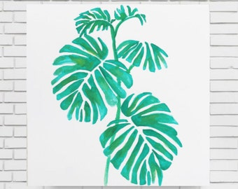 TROPICAL LEAVES WATERCOLOR - original watercolor green leaves print