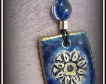109Handmade ceramic blue square necklace pendant, Wearable art, Hand Painted Pendant Necklace, Unique handmade Gift