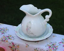 ON SALE - Precious Moments Collectible - Enesco Ceramic Watering Pitcher with Bowl - 1986 -  Miniature - Pink Rose Trim - Mother Sew Dear