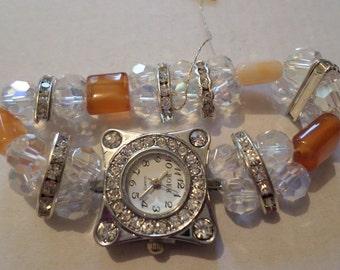 Pretty Stretchy Carnelian Gem Stone And Crystal Watch