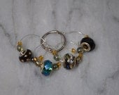 OOAK Elegant European Bead Wine Charms ~ Set of 4 on Ring Holder ~ Perfect Hostess Gift or Something Special Just For You
