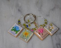 Canadian Flowers Beaded Vintage Scrabble Tile Wine Charms ~ Set of 4 on Ring Holder ~ Canadian Postage Stamps