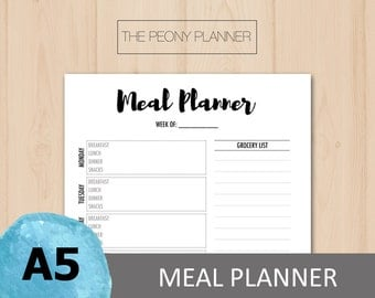 Printable | MEAL PLANNER Insert | A5 Size | Daily and Weekly Essentials | Filofax, Kikki K Planners