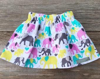 Elephant Skirt, infant/toddler skirt, handmade clothing